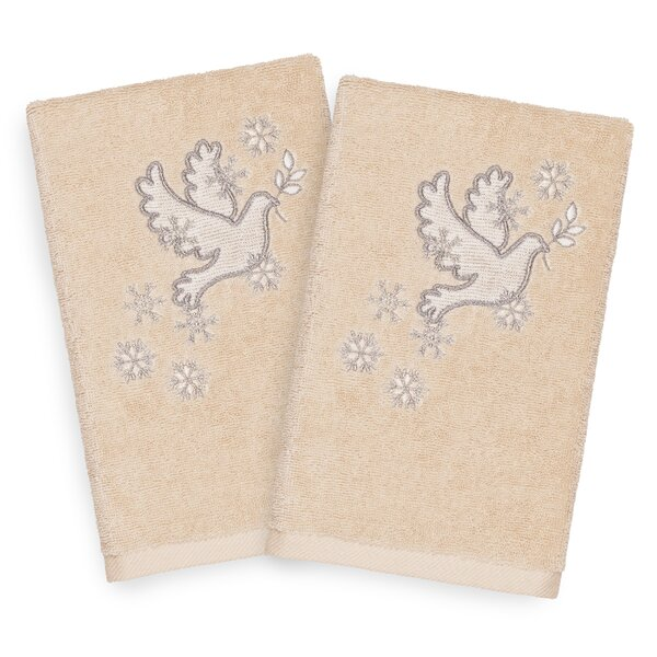 Beam Dove Embroidered Luxury 100% Turkish Cotton Hand Towel (Set of 2) by The Holiday Aisle